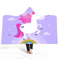 Super Soft Blanket 3D Print Unicorn Rainbow Stars Office Children Wearable Hood Throw Blanket Travel Warm Thick Fleece Blanket|Blankets| |  -