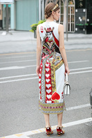 Catwalk New High Quality Runway Designer 2018 Spring Summer Fashion Women'S Party Vintage Printing Sleeveless Vest Long Dress 1