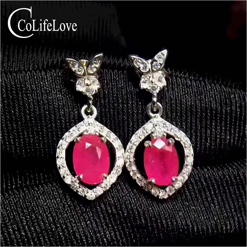 Elegant 925 silver ruby drop earrings with butterfly 5 mm * 7 mm natural Myanmar ruby earrings for wedding silver ruby jewelry 100% real heated ruby drop earrings for wedding 4 mm 5 mm si grade ruby earrings solid 925 silver ruby party jewelry girl gift