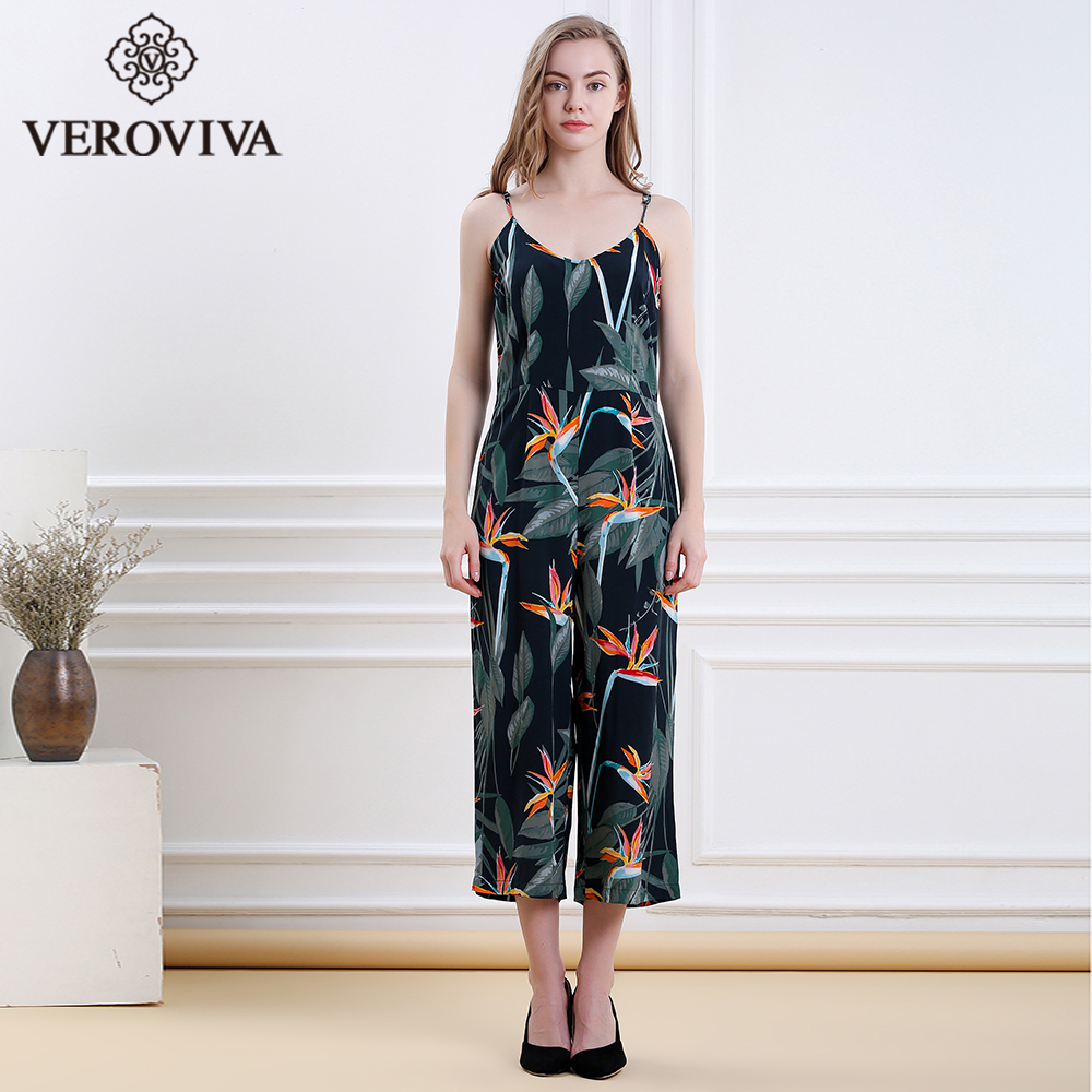 Women Summer Floral Print Jumpsuits Spaghetti Strap Overalls Cropped Trousers Sexy V-nec ...