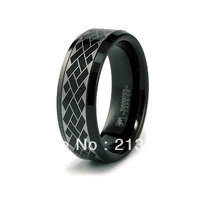 FREE SHIPPING USA WHOLESALES CHEAP PRICE BRAZIL RUSSIA CANADA UK HOT SALE 8MM BEVEL ENGRAVED BLACK BRIDAL TUNGSTEN WEDDING RING