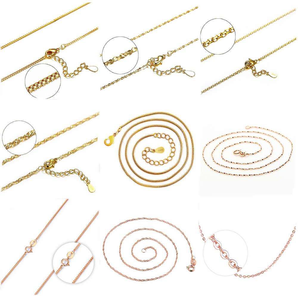 925 Sterling Silver Chain naszyjniki dla wisiorek mężczyźni kobiety różowe złoto żółte złoto srebro naszyjnik 40 cm/45 cm/50 cm
