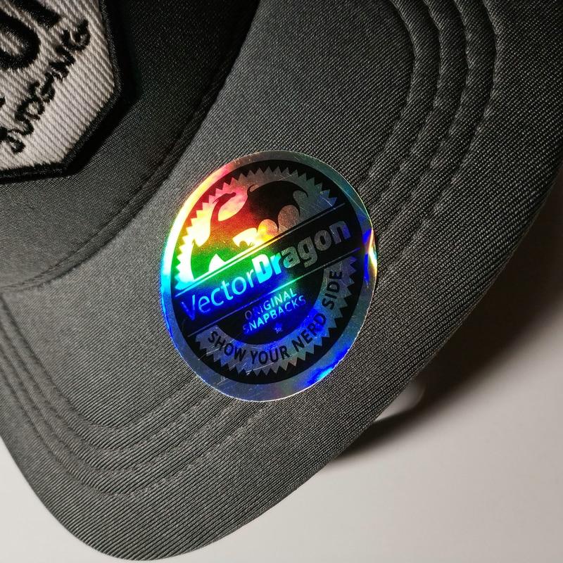 Купить с кэшбэком custom  3D rainbow color silver hologram snapback sticker cap hat label
