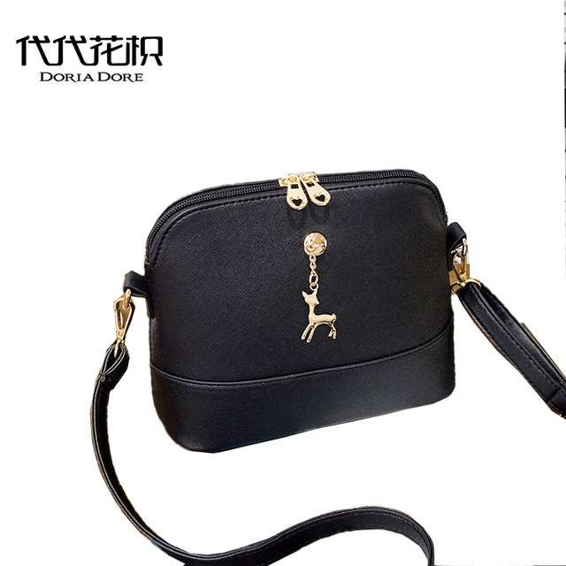 d780bdcee827 Mini Cute Women Leather Handbags Deer Charm Tassel Shell Shoulder Bags for Girls  Messenger Bags Female Ladies Handbag sac a main