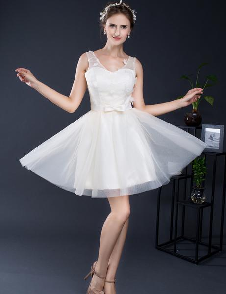 8872acc2f0f Backlackgirl Clever Short Homecoming Dresses A-Line Scoop Neck Tank Tulle  With Lace Bow Bandage Graduation Dress Custom Made