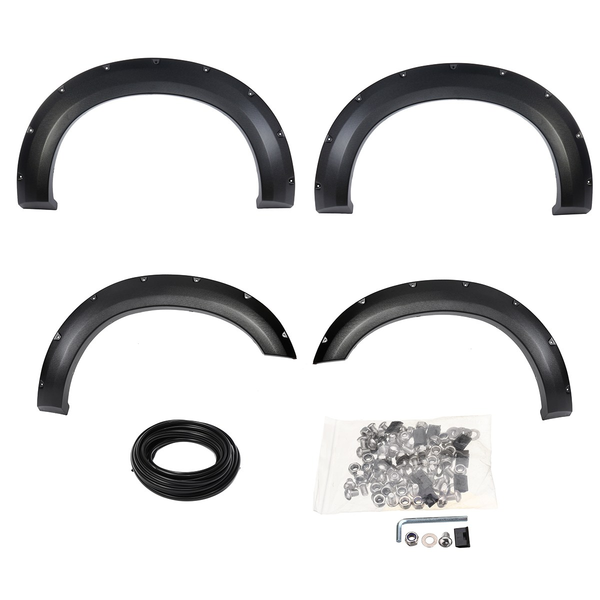 4Pcs Car Front Rear Rivet for FENDER FLARES Style Side Mudguard Wheel Flares For Ford F-250 F-350 2011-2016 egr 752354 rugged look front and rear fender flares