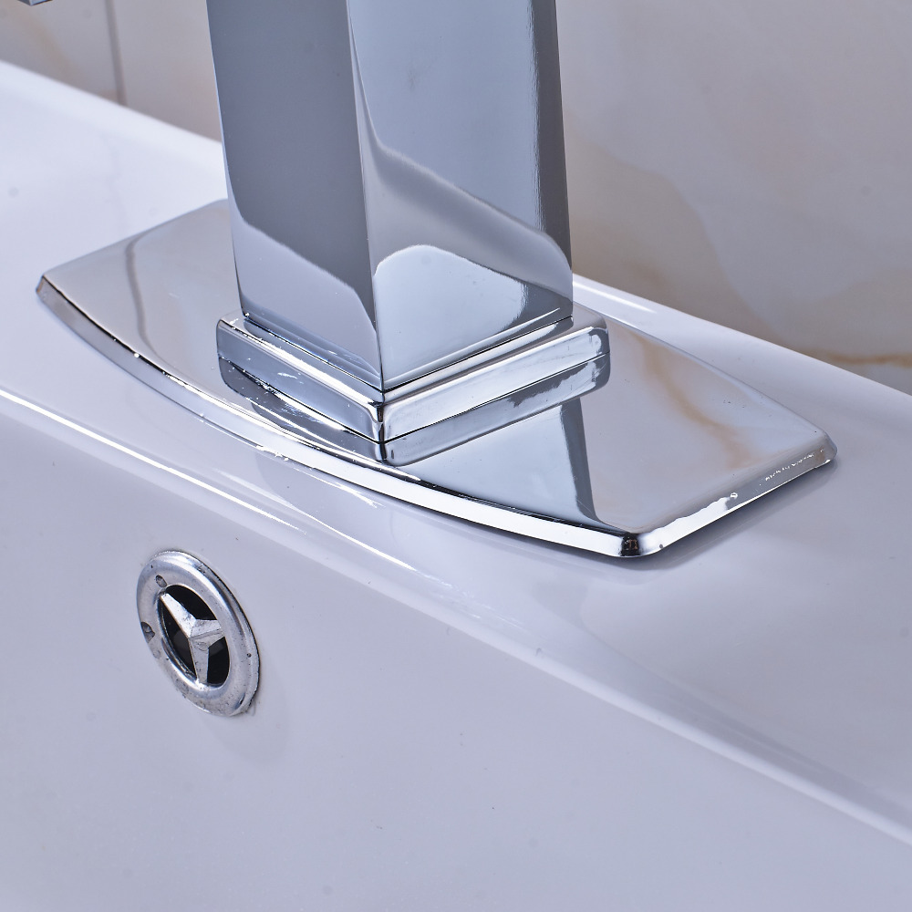 Chrome Bathroom Sink Faucet With Square Cover Plate Faucet Hot And ...