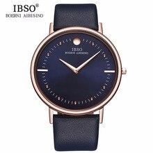 Новые мужские модные часы IBSO 7,5 мм, ультратонкие часы цвета розового золота с синим кожаным ремешком, аналоговые кварцевые часы, Relogio Masculino 1615