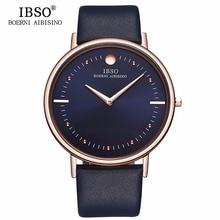 """חדש IBSO Mens שעוני אופנה 7.5 מ""""מ Ultra Thin רוז זהב שעונים רצועת עור כחולה אנלוגי קוורץ שעונים Relogio Masculino 1615"""
