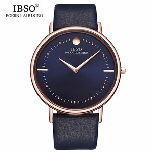 Image 1 - IBSO relojes de moda para hombre, 7,5 MM, ultrafinos, oro rosa, correa de cuero azul, analógico, de cuarzo, Masculino, 1615