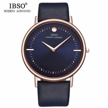 Neue IBSO Mens Fashion Uhren 7,5 MM Ultra Dünnen Rose Gold Uhren Blaue Lederband Analog Quarz Uhren Relogio Masculino 1615