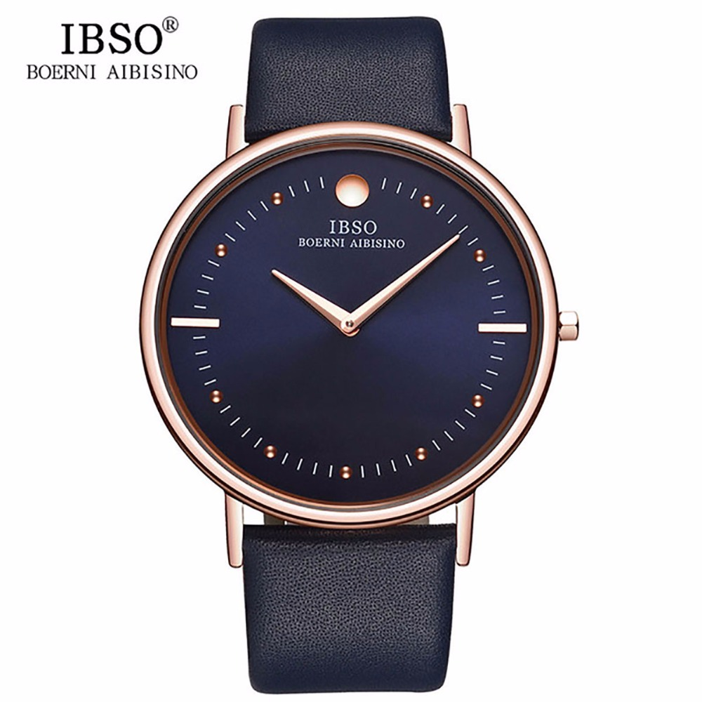 New IBSO Mens Fashion Watches 7.5MM Ultra Thin Rose Gold Watches Blue Leather Strap Analog Quartz Watches Relogio Masculino 1615