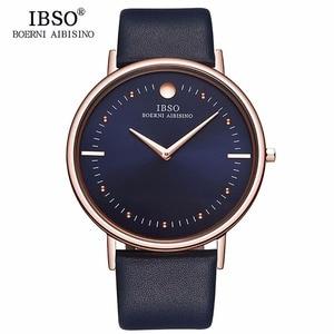 Image 1 - Novo ibso masculino relógios de moda 7.5mm ultra fino rosa ouro relógios pulseira de couro azul analógico quartzo relógios relogio masculino 1615