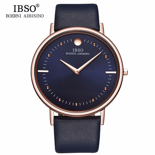 Nuovo IBSO Mens Moda Orologi 7.5 MM Ultra Sottile In Oro Rosa Orologi Blu Cinturino In Pelle Analogico Al Quarzo Orologi Relogio Masculino 1615