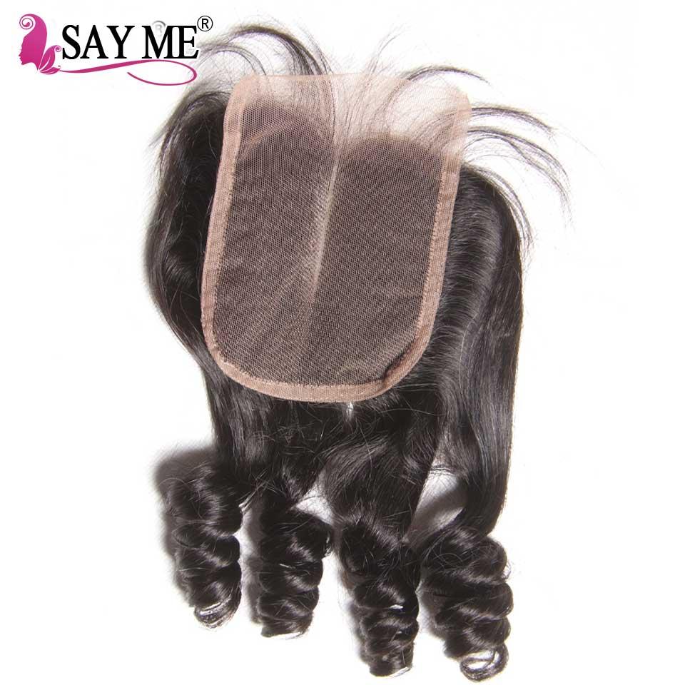 Bouncy Curly Human Hair Closure Brazilian Hair Closure Piece 4 4 Lace Closure Funmi Hair Free