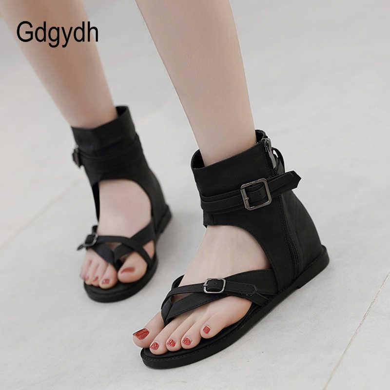 Gdgydh ผู้หญิงฤดูร้อนรองเท้าแตะ Flip - Flop ด้านข้างซิปสุภาพสตรีแบนรองเท้าข้อเท้าโรมรองเท้าฤดูร้อนสีดำคุณภาพดี