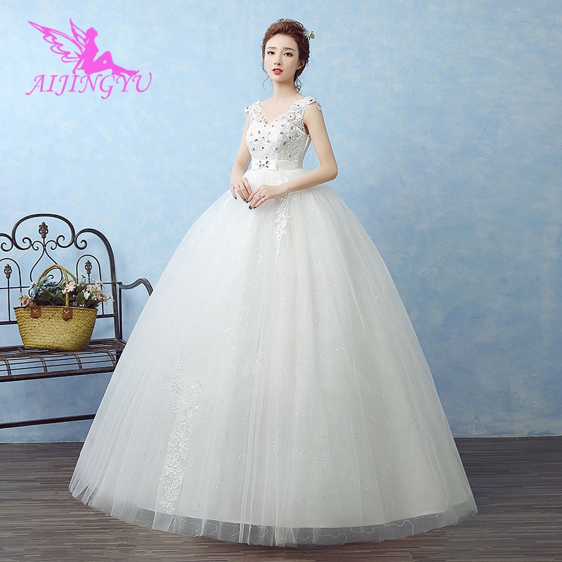 AIJINGYU 2018 luxury free shipping new hot selling cheap ball gown lace up back formal bride dresses wedding dress WK643-in Wedding Dresses from Weddings & Events    1