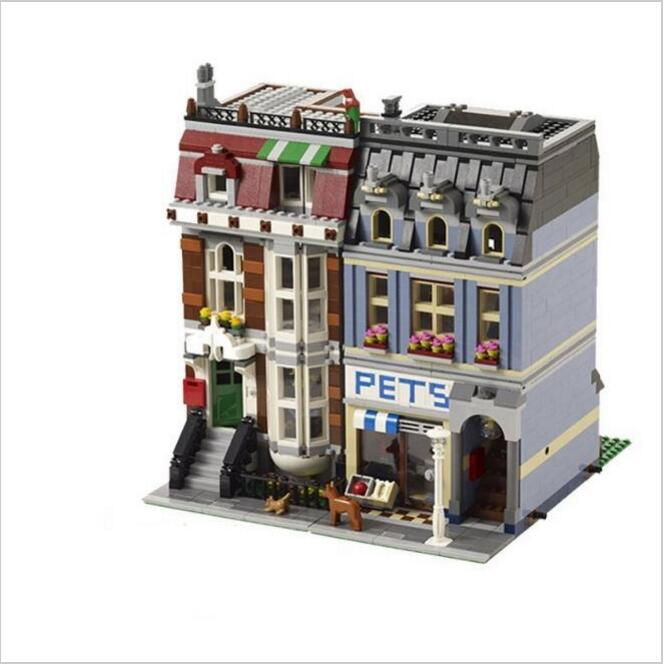 Lis 15009 Pet Shop Supermarket Model City Street Building Blocks Compatible LepinINGLYS 10218 Toys For Children Birthday Gift large particle city supermarket model