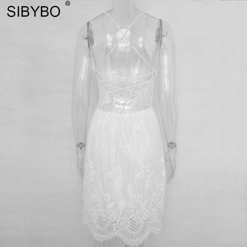 ... Sibybo Backless Spaghetti Strap Sexy Lace Dress Women Sleeveless V-Neck  Loose Summer Dress Cotton