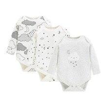 3 unidades/lotes bebê recém nascido bodysuits meninos/meninas 100% algodão completo manga longa dos desenhos animados macio infantil roupas para o bebê