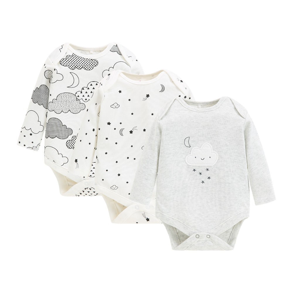3pcs/Lots Newborn Baby Bodysuits Boys/girls 100% Cotton Full Long Sleeve Cartoon Soft Infant Clothing For Baby Clothes
