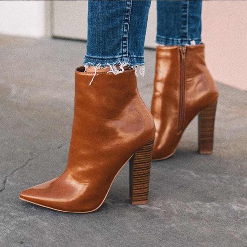 2019 Plus Größe Frauen Ankle Brown Stiefel 10cm High Heels Fetisch Stripper Herbst Stiefel Prom Dicken Block Heels Chunky zip Sexy Schuhe