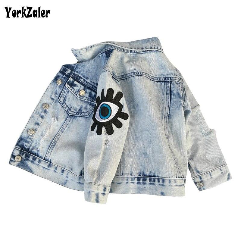 Yorkzaler Spring Autumn Kids Jacket For Girls 2018 Ripped Sequins Eyes Children'