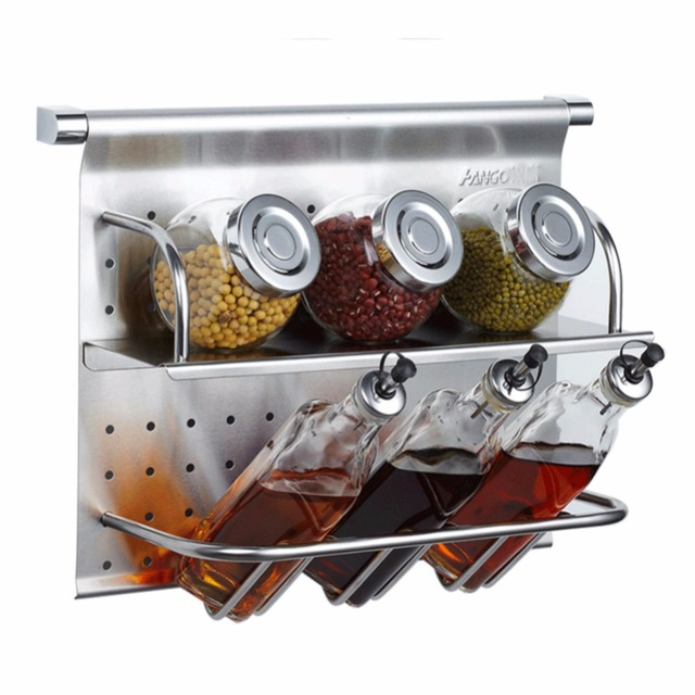 188 Stainless Steel Multifunctional Kitchen Spice Racks Wall