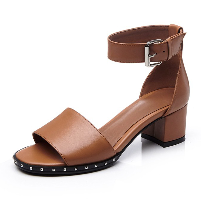 (Black, brown) 2017 Summer Women's High heel Peep Toe Pumps Full Grain Leather Sexy Fashion Rivet elegant sandals for women free shipping black brown luxury brand full grain leather sandals for women 2015 women s summer sexy cut outs ankle boots
