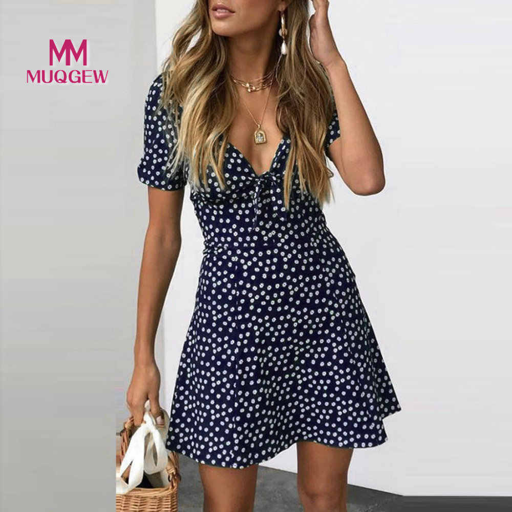 MUQGEW Women's Summer Mini Dress Floral Printing Sexy Slim Fit V-Neck Ladies Short Sleeve Bodycon Beach Party Dot Sundress 2019