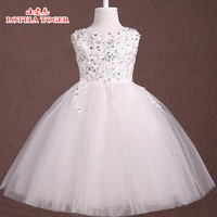 Summer Dress For Girls 2017 Princess Baby Nail Diamond Lace Wedding Party Dresses Girls Clothes 2 12 Years Bridesmaid Kids Costu