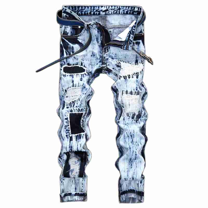 #1545 2017 Snow Wash Distressed Mens ripped jeans Fashion Skinny Embroidered Hip hop jeans Motorcycle Jogger jeans Big size