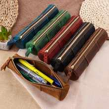 100% Genuine Leather Zipper Pen Pencil Bag Handmade Vintage Retro Style Creative Trinodal Model School Stationary Product