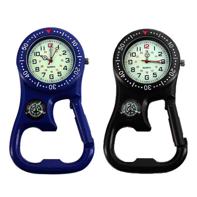 1 Pcs Clip-On Carabiner Pocket Watch Nurse Watch Compass Bottle Opener For Doctors Chefs Luminous LL@17