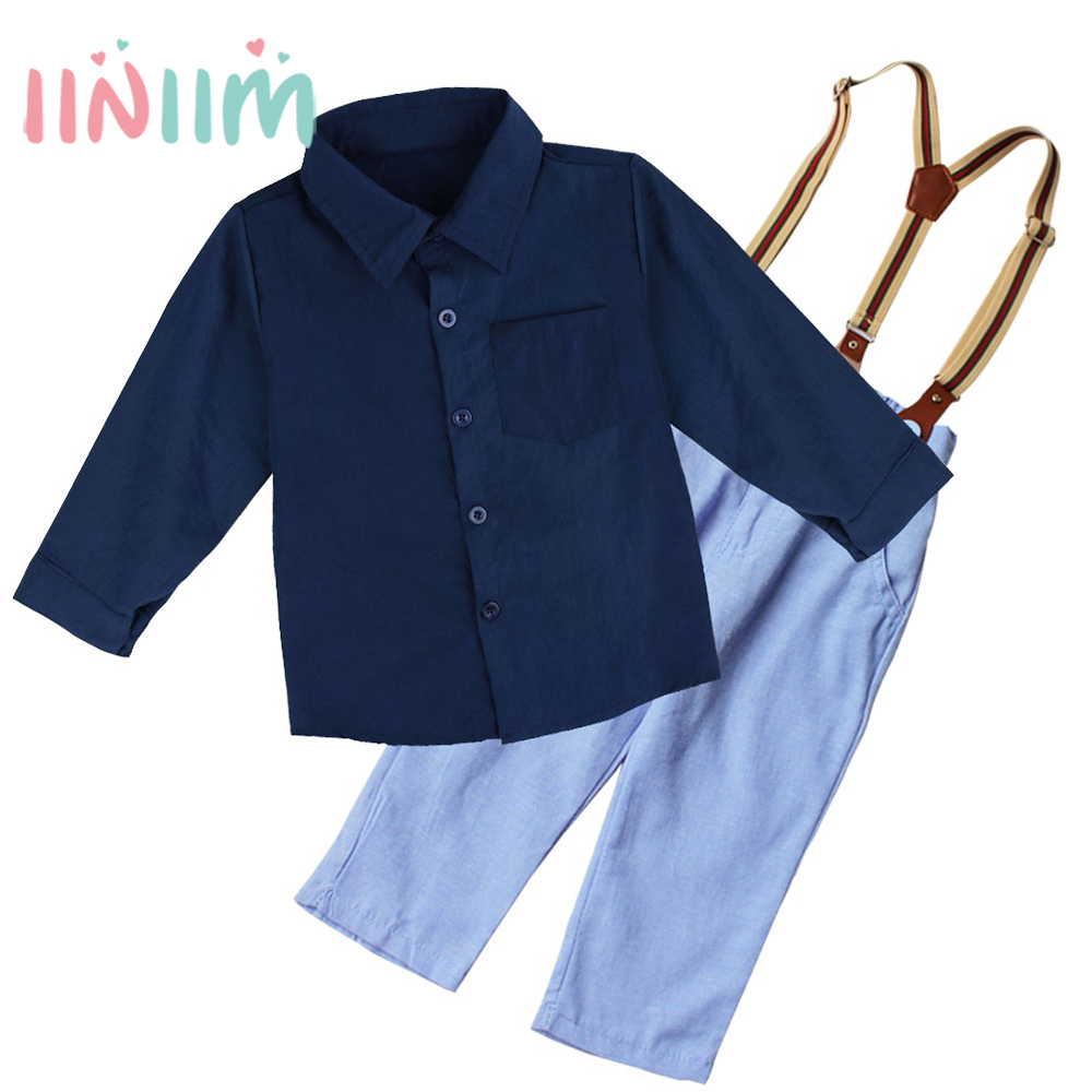 iiniim Baby Boy Clothes 2017 Spring New Brand Gentleman Plaid Clothing Suit For Newborn Baby Bow Tie Shirt + Suspender Trousers
