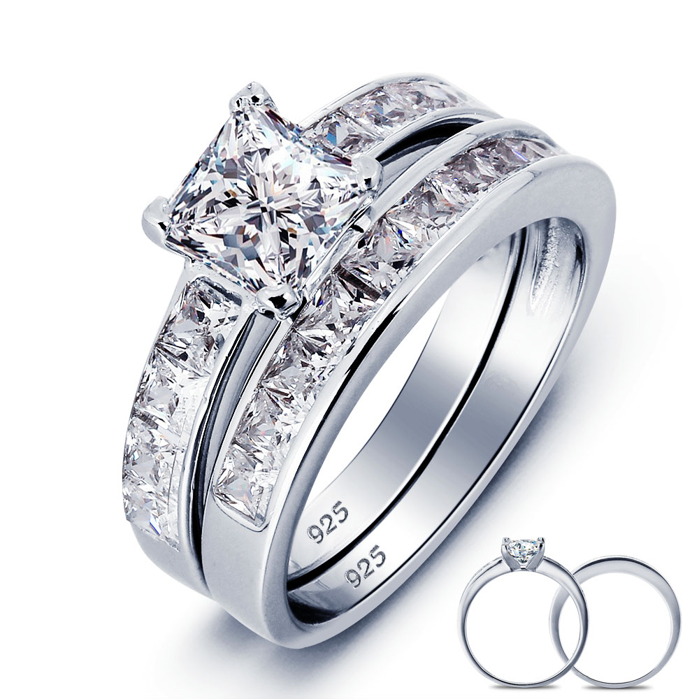 8faea0b3b Solid 925 Sterling Silver 2-Pc Wedding Ring Set Wholesale 1 Carat Princess  Cut Created Jewelry YR0006