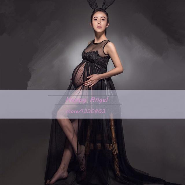 Vendo hot preto vestido de duas camadas de sessão de fotos da gravidez praia lace dress chiffon maternidade fotografia props fantasia