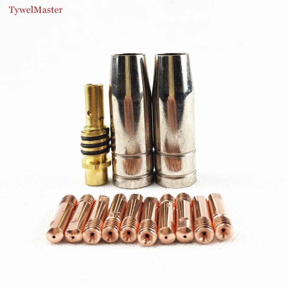 15AK Schweißen Fackel Verbrauchs 13 pcs 0,6mm 0,8mm 0,9mm 1,0mm 1,2mm MIG Fackel Gas Düse spitze Halter für MIG MAG Schweißen Maschine