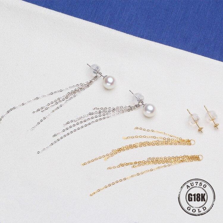 Bijoux en or 18 k véritable de luxe pour femmes boucles d'oreilles en or jaune de qualité supérieure pour demi trou perle accessoires de bricolage