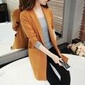 Camisola das mulheres de médio-longo casacos de lã 2017 primavera outono blusas soltas de malha de manga Comprida outerwear Moda Decote Em V longo Do Meio