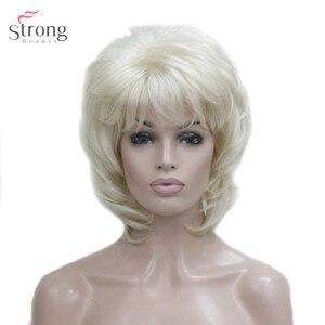 Image 3 - Strongbeauty 여성용 합성 가발 짧은 스트레이트 털이 자연 헤어 캡리스 가발 블리치 블론드 #613