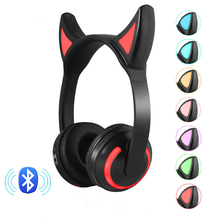 Wireless Bluetooth Cat Ear Headphones 7 LED light Flashing Glowing Anime Cosplay Fancy Earphone Bilateral Stereo Gaming Headset все цены