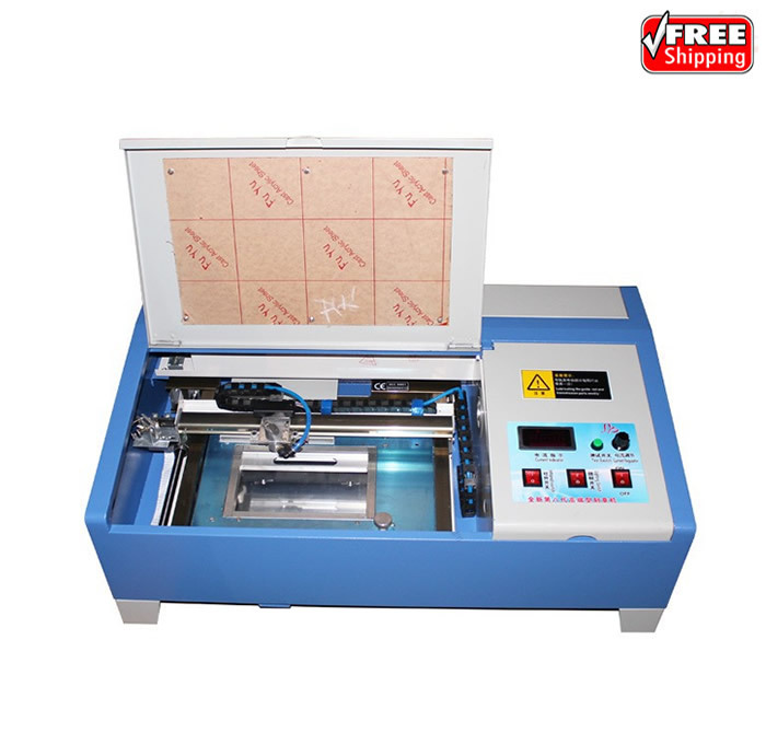3020 40W CO2 laser engraving machine with digital function and honeycomb USB port stamp laser machine 3020 with lift system up and down function 40w heigh configration