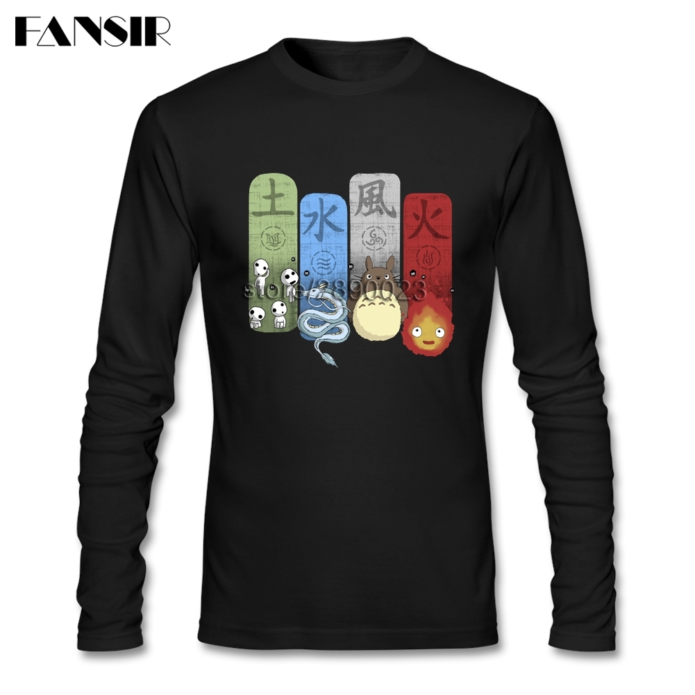 Neuheit T-shirt Männer Elementarem Charme Prinzessin Mononoke Totoro Chihiros Langarm Oansatz Baumwolle Männer T Shirt Asiatische Größe