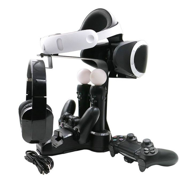 VR контроллер Ручка Зарядное Док-Станции Стенд Полка Для PS4 Игровой Консоли Черный