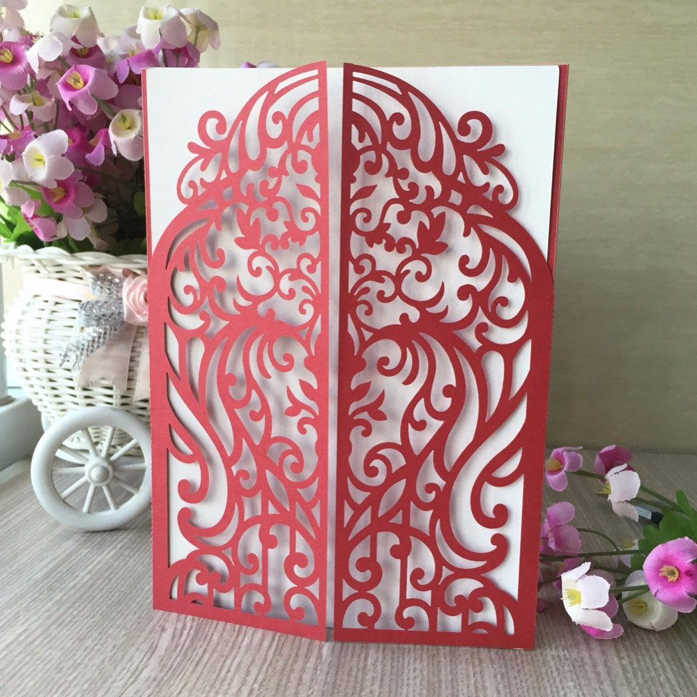 30pcs/lot Hot Sale Unique Love Cards,Laser Cut Flower Design Wedding ...
