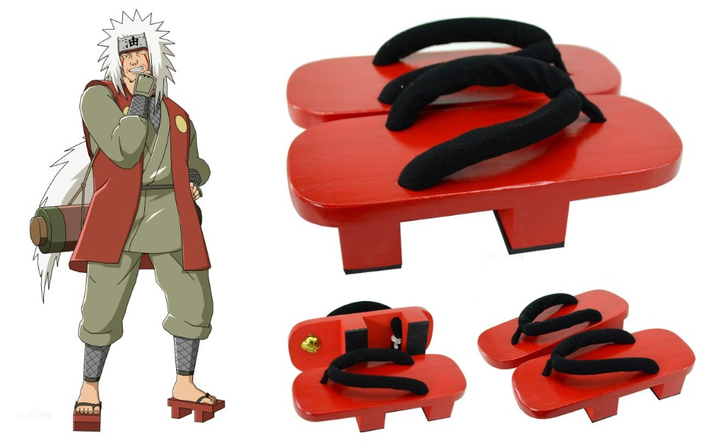 Moccasins Naruto Jiraiya Cosplay Shoes High Heel Geta Clogs Shoes Boots Paulownia Pulley Slippers Anime Props