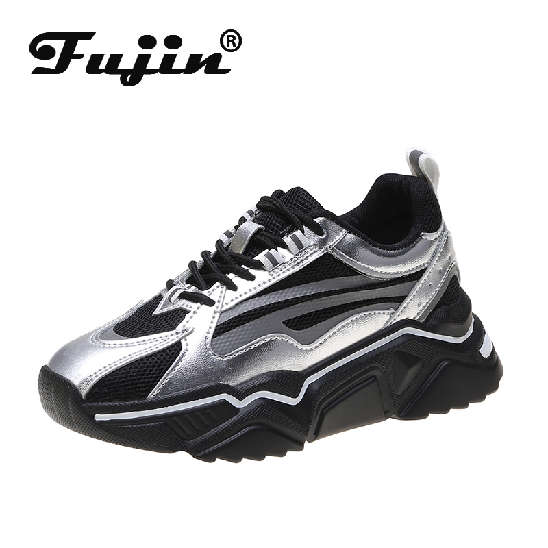 Fujin Platform High  Women Sneakers Dropshipping 2019 Autumn Causal Female Sneakers Heightening Mesh Lace Up Shoes Mixed Color