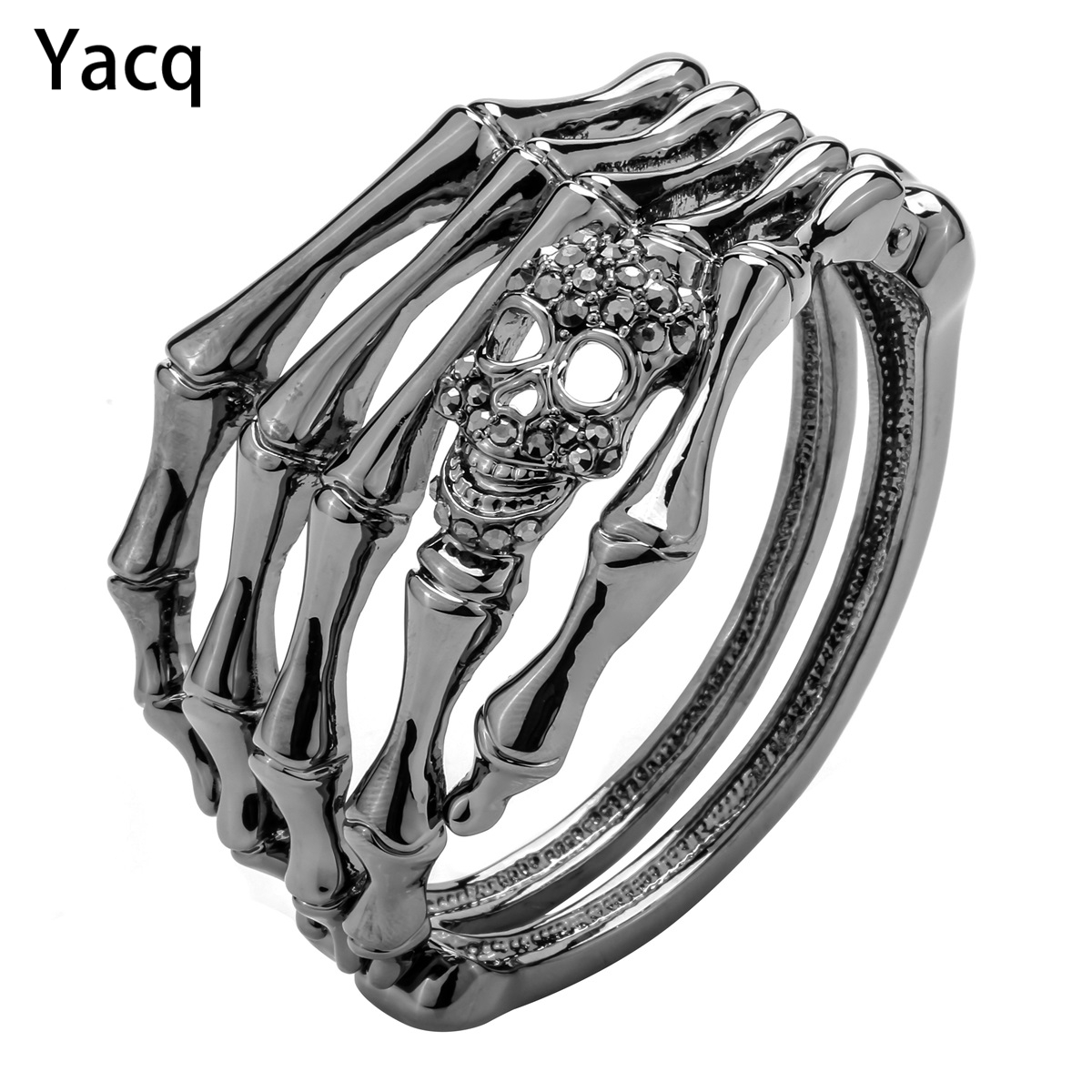 YACQ Skull Skeleton Hand Bracelet Bangle Biker Joyas Góticas Regalos Mujeres Su Novia Color Plata Antiguo D08 Dropshipping