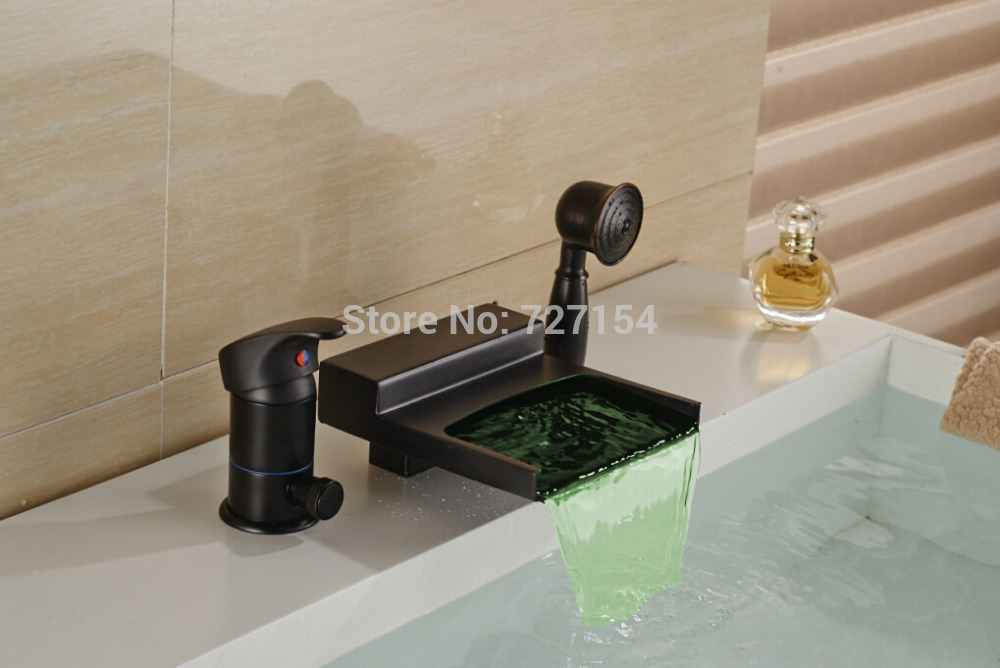 LED Color Changes Waterfall Bathtub Faucet Single Handle W/ Hand Unit Deck Mount